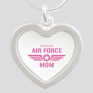 Proud Air Force Mom W [pink] Silver Heart Necklace